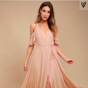 Lulus Blush Off The Shoulder Maxi Dress Wrap